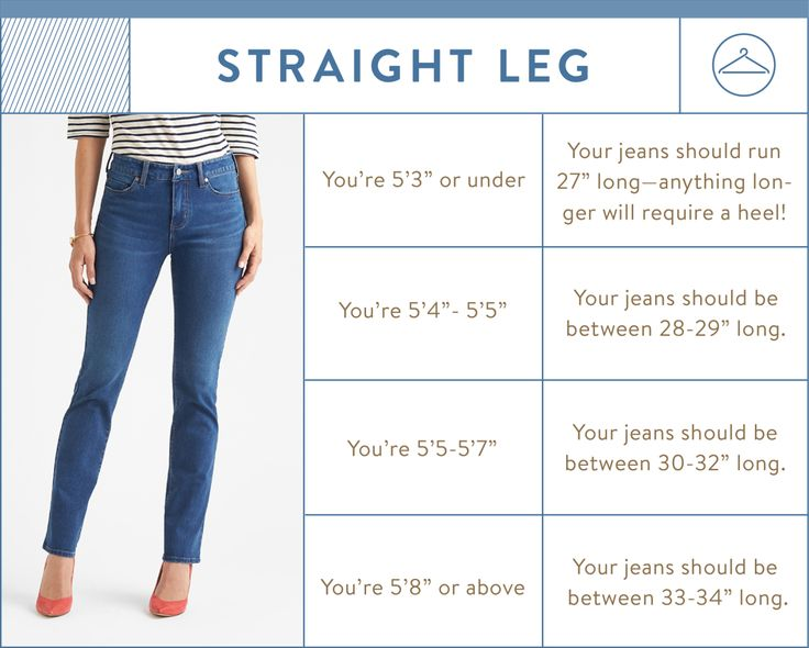 straight leg inseam chart - straight leg jean inseam by height