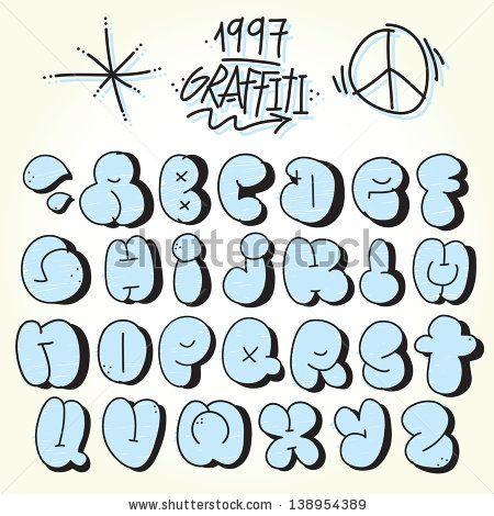Graffiti bubble alphabet vector set by dmitriylo, via Shutterstock