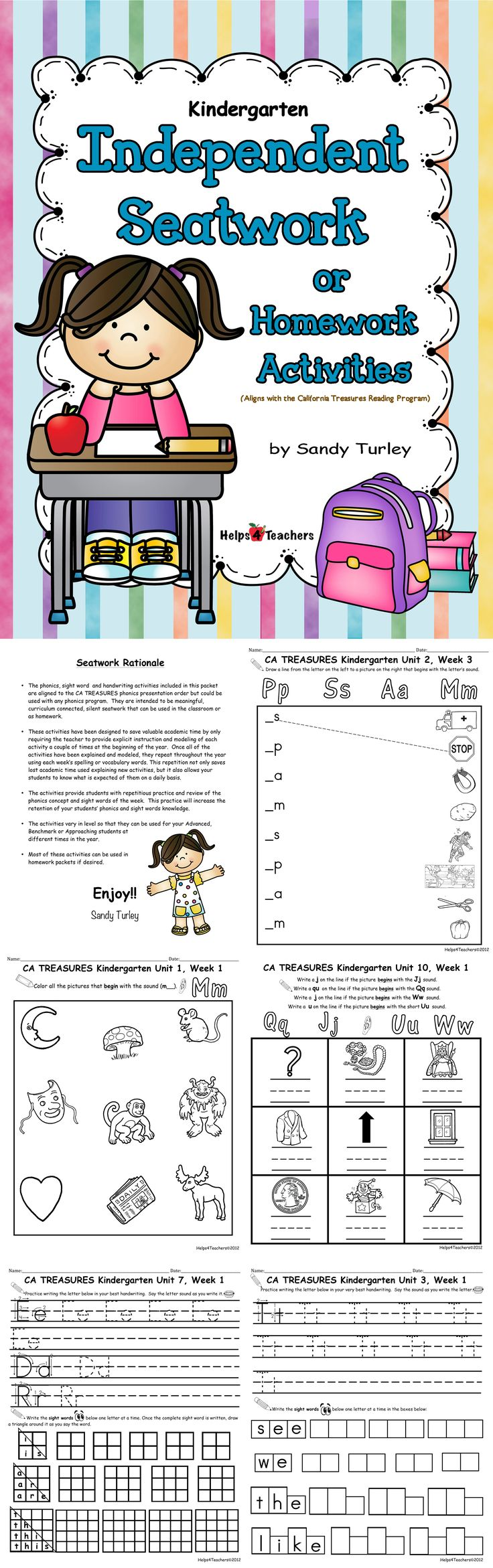 $ AWESOME!!  This E-Book contains Phonics, Sight Word and Handwriting printable activity sheets. (It is aligned with the California Treasures Reading Program but would be great review for any Kindergarten Reading program). Includes phonics, sight words and handwriting.  This includes everything you need for the WHOLE YEAR!!!  Found at:  http://www.teacherspayteachers.com/Store/Helps4teachers