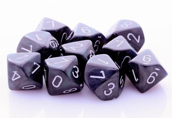 Borealis Dice Smoke Black. Need more dice? Borealis D10 Dice (Smoke Black) will keep you rolling! Each set has 10 ten-sided dice for your next RPG adventure.