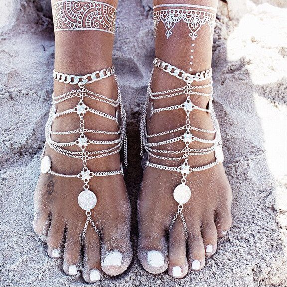 Boho Beach Sandals Silver Coin Anklet