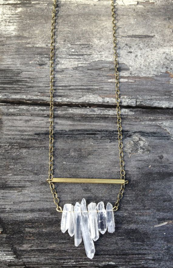 Raw Brass & Clear Crystal Quartz Necklace  Gift by GrizzyLove, $42.00