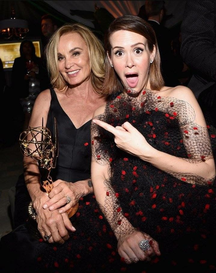 These Stars Had the Most Fun After the Emmys Sarah Paulson celebrated her American Horror Story costar Jessica Lange's big win at the Fox/FX party.