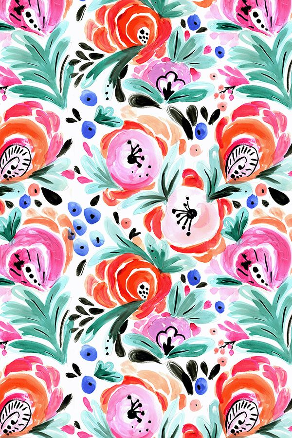 vibrant design modern floral wallpaper. Tropical Floral by crystal walen  Hand painted flowers in red pink orange and 201 best Designs Flowers Bouquets Leaves Indie