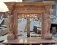 Hand Carved Sunset Marble Fireplace Mantel with Carved Women Column #3847