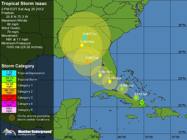 Tropical Storm Isaac : 5 Day Forecast Map | Weather Underground