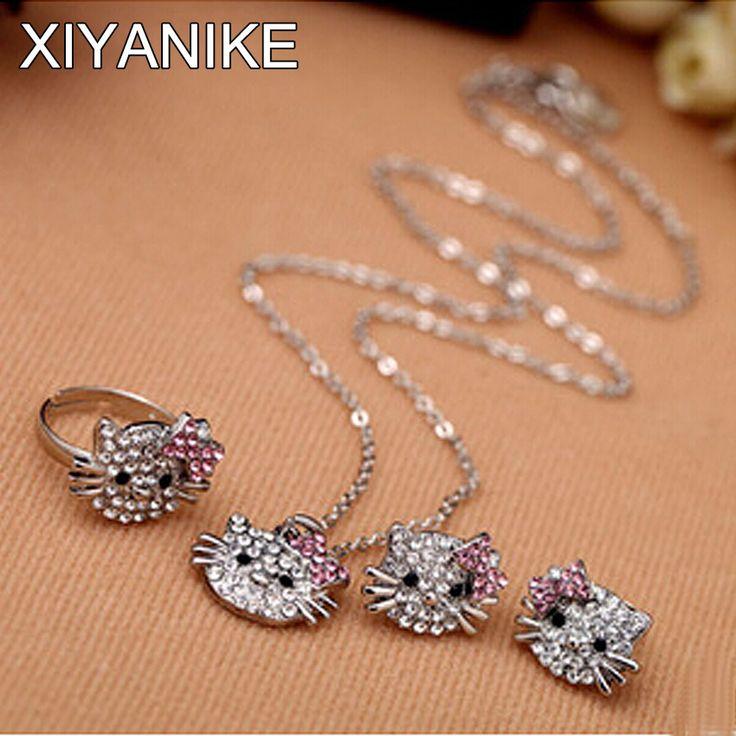 새로운 패션 크리스탈 고양이 스터드 귀걸이 모조 다이아몬드 귀걸이 Bowknot KT 보석 반지, 귀걸이 목걸이 세트