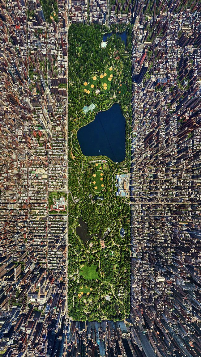 Looking down on central park