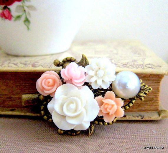 Peach Hair Clip Blush Pink White Flower Hair Pin Rose Floral Barrette Pastel Wedding Powder Pink Peach Pastel Bridesmaid Hair Accessories