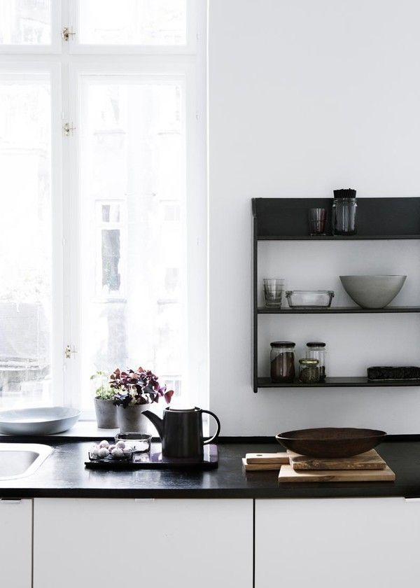 Love the simplicity. beautiful monochrome kitchen!! #Scandinavian #kitchen #interiors #monochrome
