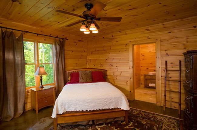 Riverview Lodge    Cabin Rentals of Georgia - Terrace Level Queen Suite with Private Bath and Designer Ceiling Fan