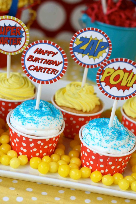 DIY Superhero Cupcake Toppers. $5.00, via Etsy.