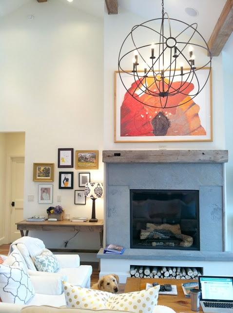 slate fireplace with a wood base