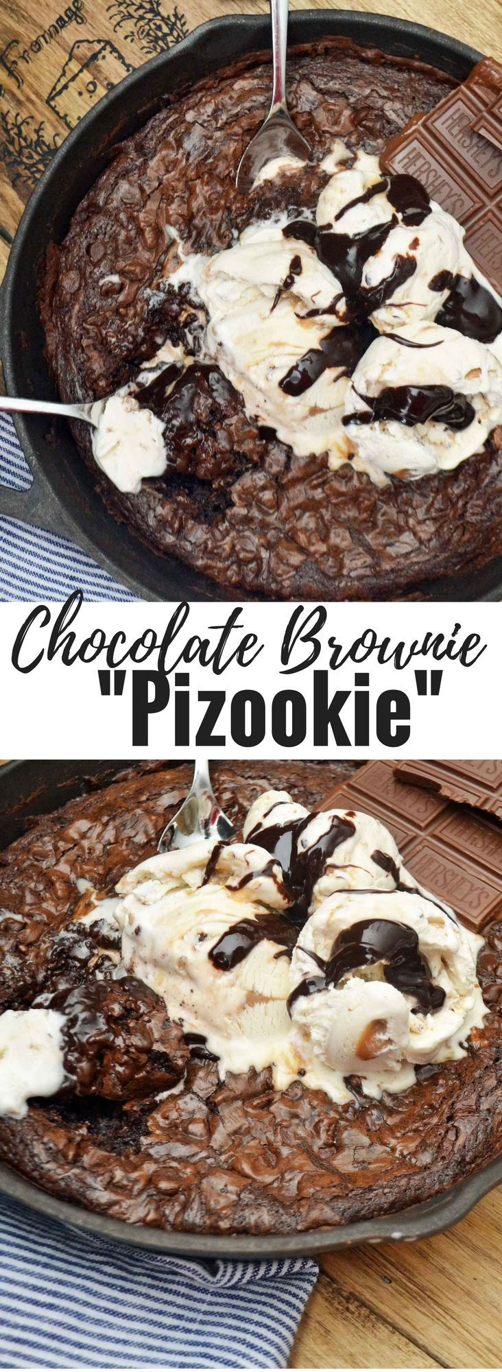 The Popular Pizookie dessert made with a decadent chocolate brownie and topped with vanilla ice cream and hot fudge. It's a chocolate lover's dream.