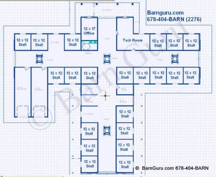 Amazing Horse Barn Layouts #5: 21 Stall Horse Barn Design Plans/ Donu0027t Think Iu0027ll Need 21