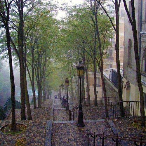 Rainy Day, Montmartre, Paris   photo via jeannine: Spaces, Stairs, Favorite Places, Beautiful Places, Paris France, Travel, Rain, Wanderlust, Montmartre Paris