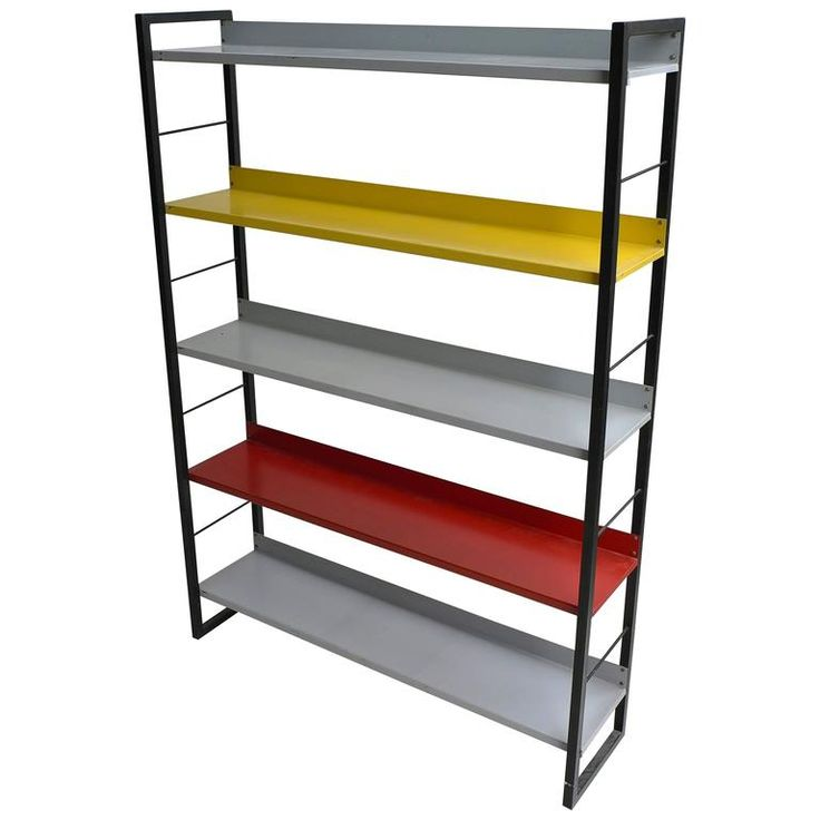 Multicolored Industrial Sheet Metal Bookcase by Tomado, 1950s | From a unique collection of antique and modern bookcases at https://www.1stdibs.com/furniture/storage-case-pieces/bookcases/
