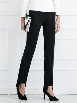 Black Asymmetric Cotton-blend Straight Leg Pants