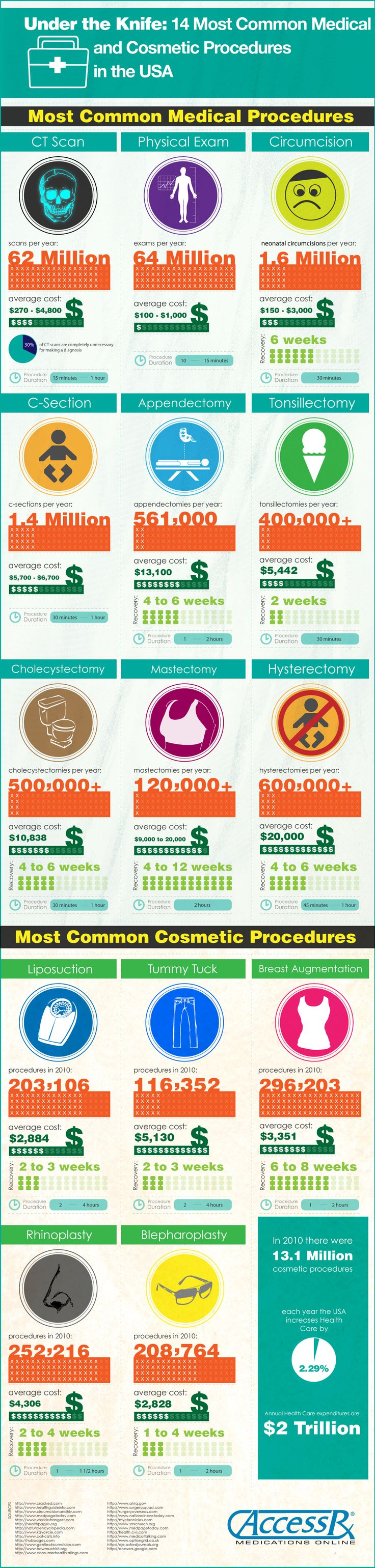 Slicin' & Dicin' in the USA [infographic]  14 Most Common Medical and Cosmetic Procedures in the USA