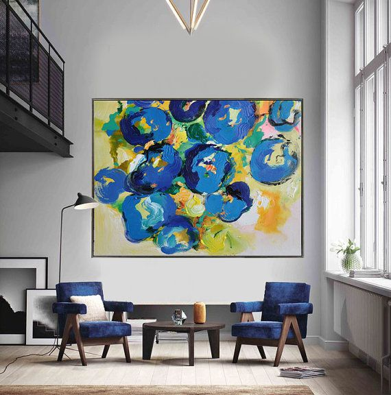 Handmade Contemporary art, palette knife painting on canvas from CZ ART DESIGN, Large horizontal flower art. @CeilneZiangArt
