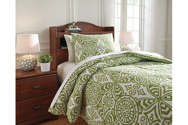 Ina 2-Piece Twin Comforter Set by Ashley HomeStore, Green, Cotton (100 %)