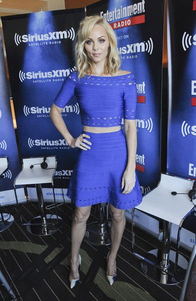 Laura Vandervoort strikingly beautiful in this Blue Two-Piece Bandage Dress