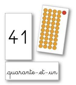 Cartes sur les nombres jusqu'à 99 (perles Montessori) (graines de livres)
