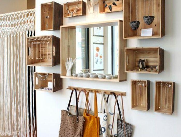 porte bijoux, rangement chaines, oreillers, colliers, miroir, sac a main, rangement, macramé, projet de cagette bois DIY