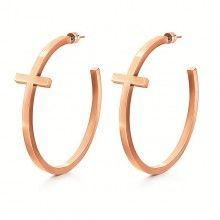 Folli Follie - Karma Earrings £45 #rosegold #cross #hoop #earrings #90s #style
