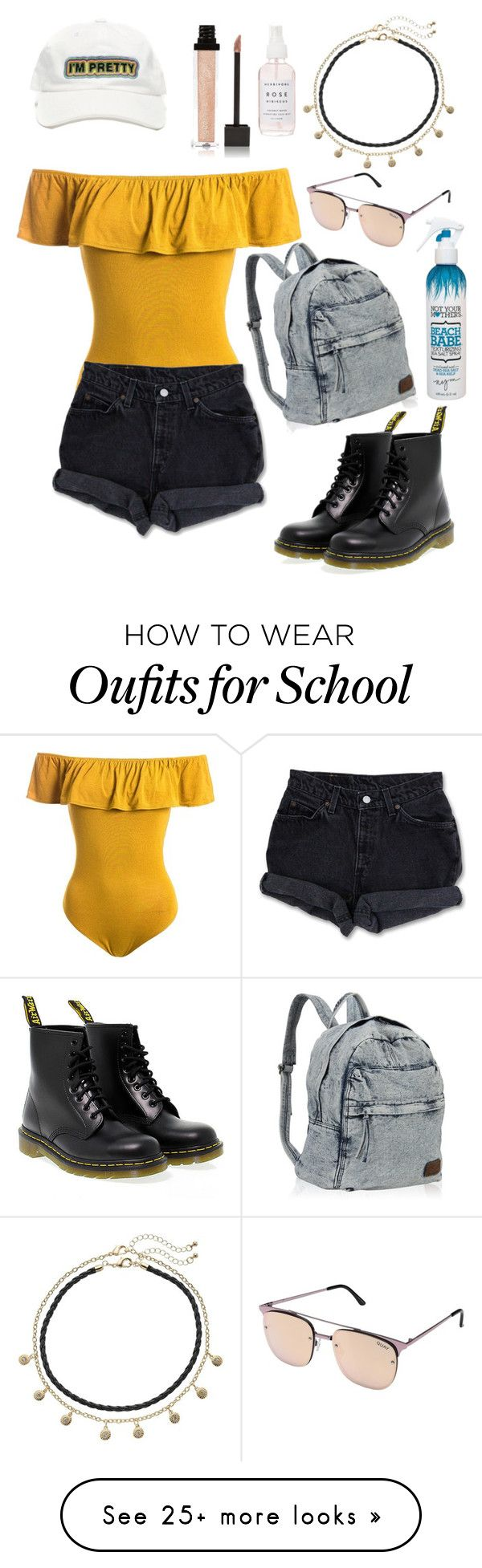 """""""Let's Grab Lunch"""" by bellalaney on Polyvore featuring Sans Souci, Levi's, Apt. 9, Dr. Martens, Jouer, Holly's House, Not Your Mother's and Quay"""