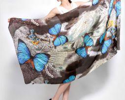 Hodvábny šál zo 100% hodvábu s motýľmi 175 x 90 cm