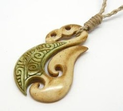 Maori Bone Manaia Hook Koru Necklace - maori, manaia, bone, hook, necklace, koru, ... - Shopenzed.com