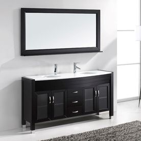 Shop Virtu USA Ava Espresso 63-in Integral Double Sink Oak Bathroom Vanity with Engineered Stone Top (Faucet and Mirror Included) at Lowes.com