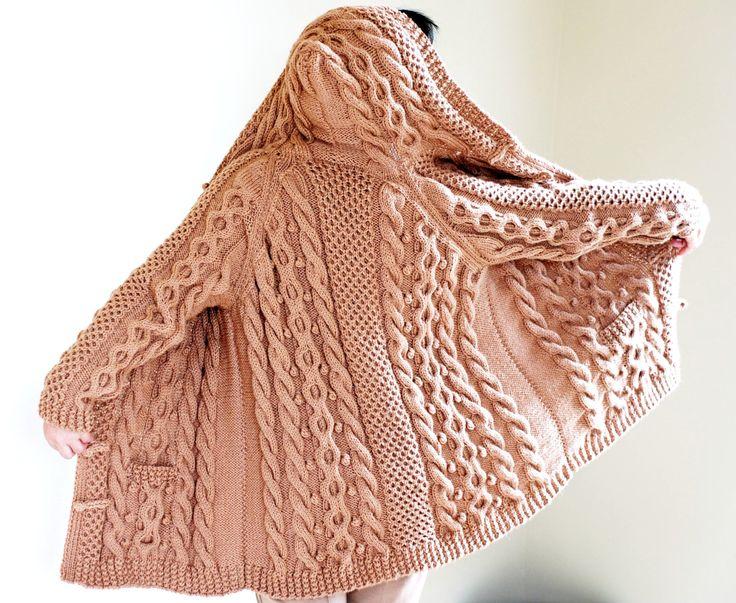 Hand Knit Women Chunky Cable Aran Irish Fisherman Sweater Coat Cardigan Top Whole Wool S M L XL. $295.00, via Etsy.