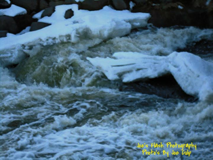Waterfall below the Lott dam Belleville Ontario march 9, 2015