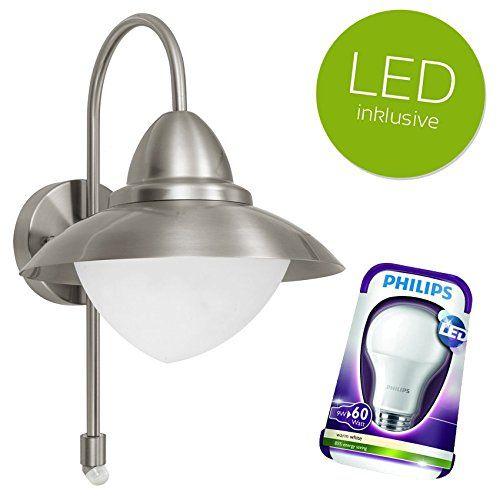 EGLO SIDNEY LED Außenwandleuchte BEWEGUNGSMELDER Aussenleuchte Außenlampe Edelstahl + PHILIPS LED Leuchtmittel E27 9W - http://led-beleuchtung-lampen.de/eglo-sidney-led-aussenwandleuchte-bewegungsmelder-aussenleuchte-aussenlampe-edelstahl-philips-led-leuchtmittel-e27-9w/ #EgloLeuchten #ClickLichtDe