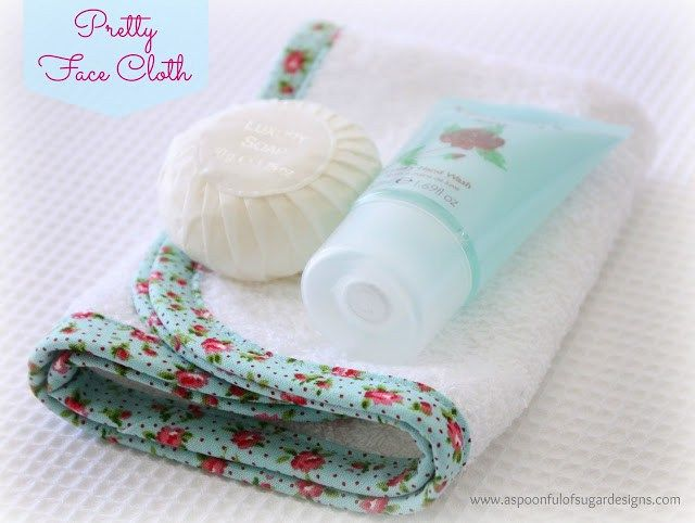 """Decorate plain face washers with pretty fabric and crochet trim to make a sweet gift. Check out our guide for the """"how to""""."""