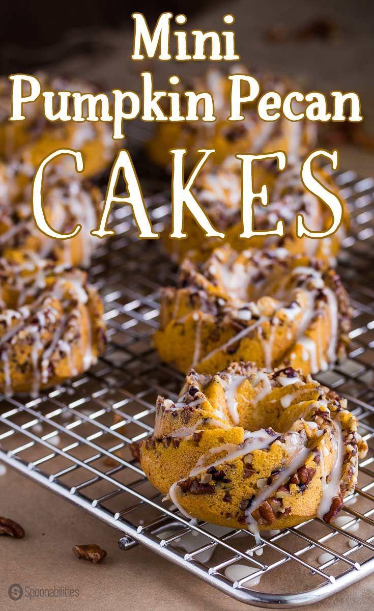 Mini Pumpkin Pecan Cakes   Perfect fall dessert and morning breakfast   Mini bundt cakes with pecan chunks and orange glaze. #dessert #breakfast #bundtcake #donut #pumpkin #cake Spoonabilities.com via @Spoonabilities