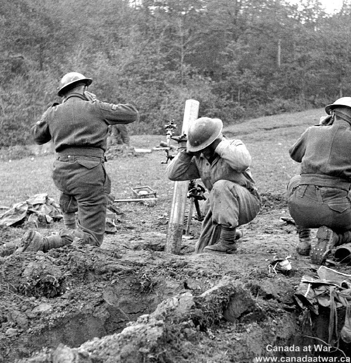 Italy (Misc.) - Canadian mortar troops fire in the vicinity of the Sangro River as part of Montgomery's renewed offensive.