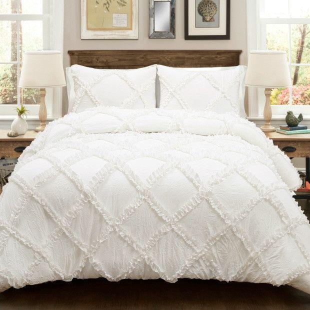 White Ruffle Diamond Comforter Set, 3 Pieces