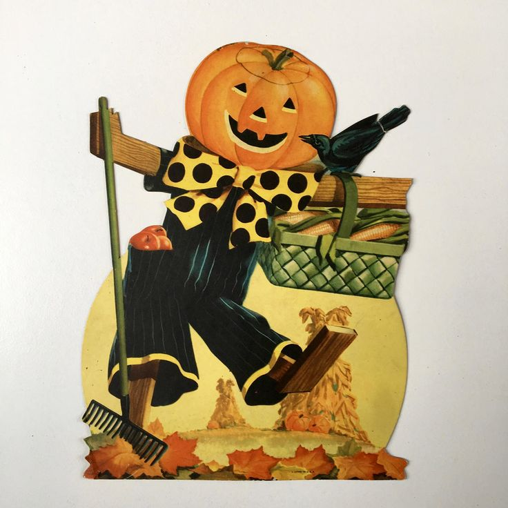 Vintage Halloween die cut JOL Scare Crow~table top marked Litho in USA~ 1960s decor from MilkweedVintageHome by MilkweedVintageHome on Etsy