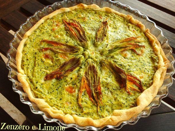 Torta salata zucchine e fiori zucca