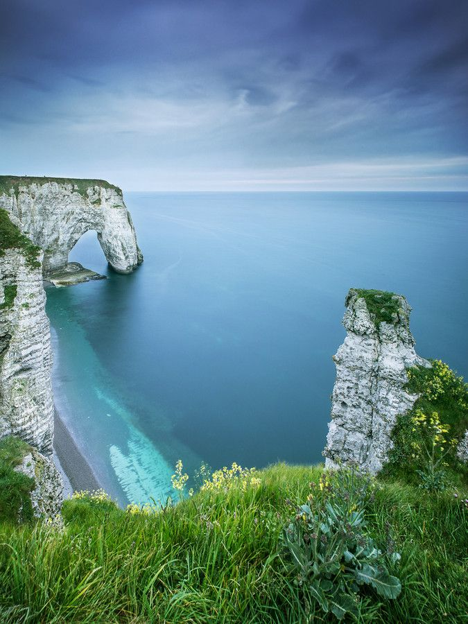 Cliffs and arch at Étretat on the Normandy coast, France