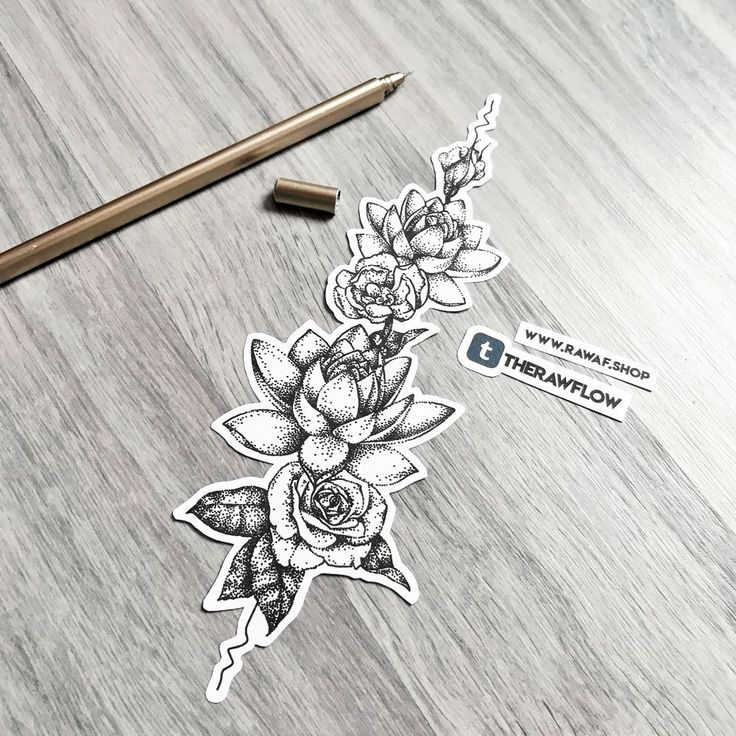 Dotwork upper back (spine) tattoo design with lotuses and roses, commission for Seanna Commissions info: www.rawaf.shop/commissions #tattoosonbackspine