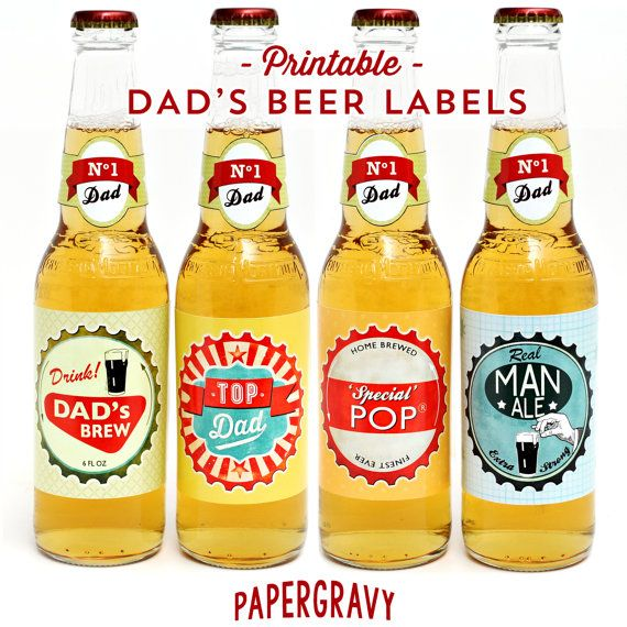 PRINTABLE Fathers Day Beer Bottle labels and by papergravystore