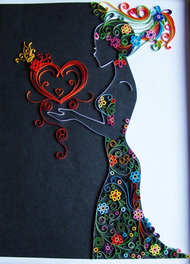 Каляки-Маляки:квиллинг - картины, открытки, поделки: Девушка-весна: контурный квиллинг