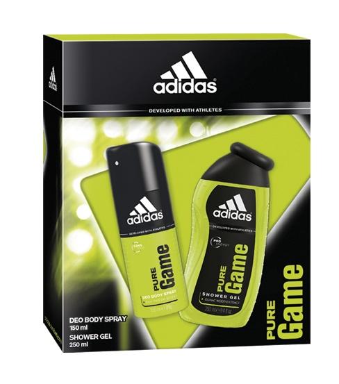 Adidas Pure Game zestaw dla mężczyzn: dezodorant w sprayu 150 ml, żel pod prysznic 250 ml