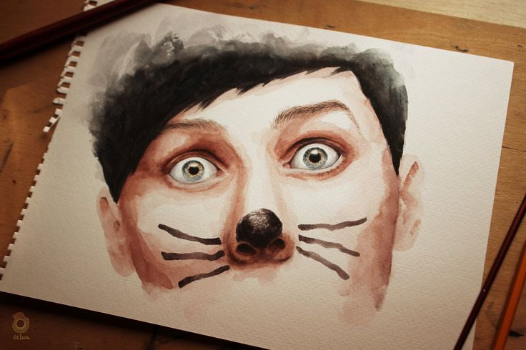 "Phil and the cat whiskers - ""It's time..."" ~ AmazingPhil - watercolour painting by szluu.tumblr.com"