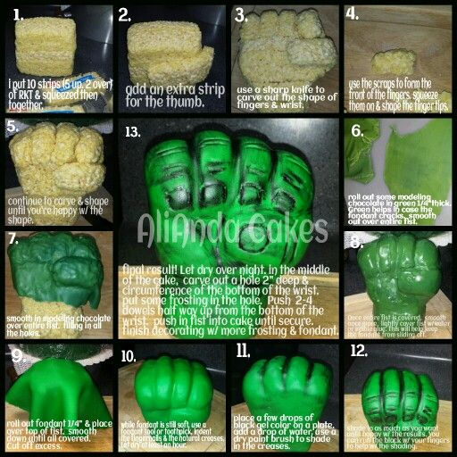 How to make a Hulk fist out of RKT covered in fondant. Www.facebook.com/AliAndaCakes