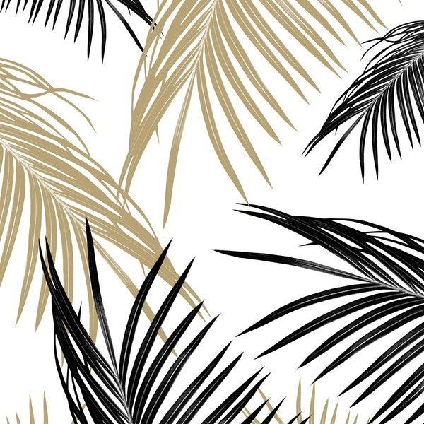 Gold Black Palm Leaves Dream 1 Wallpaper From Happywall Interiordecor Summervibes Collage Buyart Palmleaf Palmspat Leaf Wallpaper Palm Leaves Nature Wall